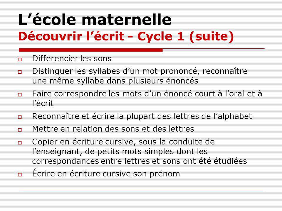 Lécole maternelle Découvrir lécrit - Cycle 1 (suite) Différencier les sons Distinguer les syllabes dun mot prononcé, reconnaître une même syllabe dans