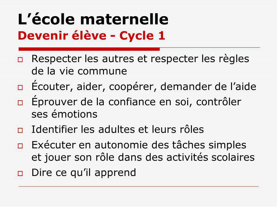 Lécole maternelle Devenir élève - Cycle 1 Respecter les autres et respecter les règles de la vie commune Écouter, aider, coopérer, demander de laide É