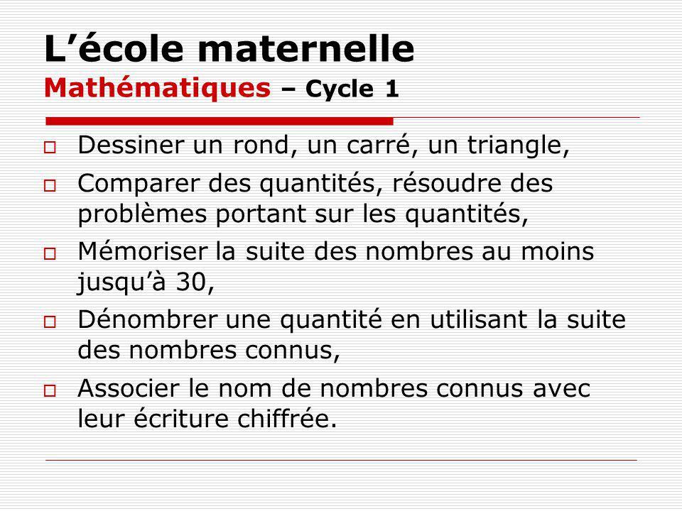 Lécole maternelle Mathématiques – Cycle 1 Dessiner un rond, un carré, un triangle, Comparer des quantités, résoudre des problèmes portant sur les quan