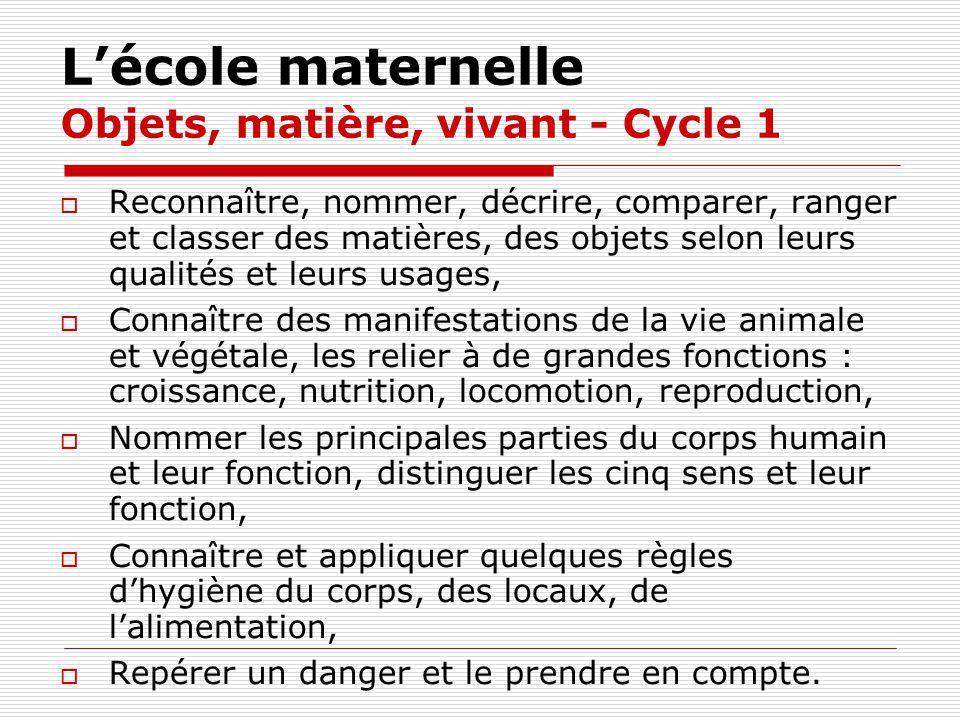 Lécole maternelle Objets, matière, vivant - Cycle 1 Reconnaître, nommer, décrire, comparer, ranger et classer des matières, des objets selon leurs qua