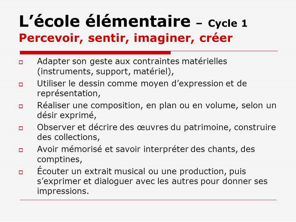 Lécole élémentaire – Cycle 1 Percevoir, sentir, imaginer, créer Adapter son geste aux contraintes matérielles (instruments, support, matériel), Utilis