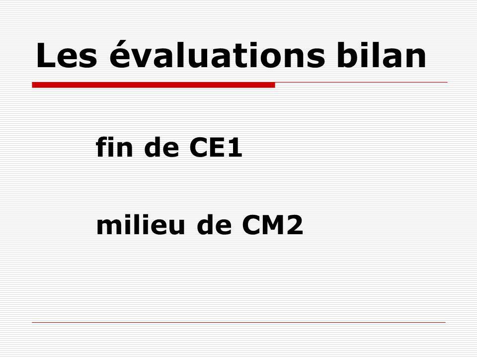 Les évaluations bilan fin de CE1 milieu de CM2
