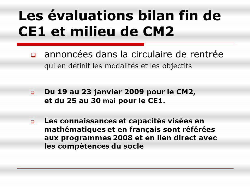 Les évaluations bilan fin de CE1 et milieu de CM2 annoncées dans la circulaire de rentrée qui en définit les modalités et les objectifs Du 19 au 23 ja