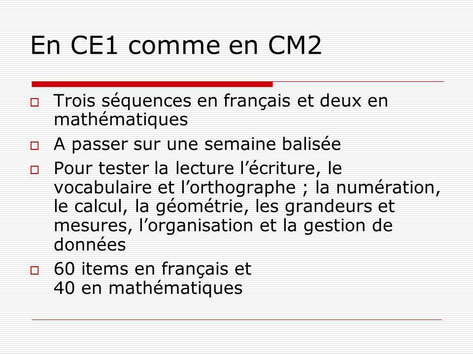En CE1 comme en CM2 Trois séquences en français et deux en mathématiques A passer sur une semaine balisée Pour tester la lecture lécriture, le vocabul