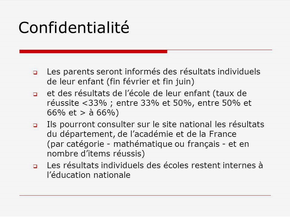 Confidentialité Les parents seront informés des résultats individuels de leur enfant (fin février et fin juin) et des résultats de lécole de leur enfa
