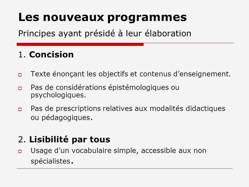 Les nouveaux programmes Principes ayant présidé à leur élaboration 1. Concision Texte énonçant les objectifs et contenus denseignement. Pas de considé