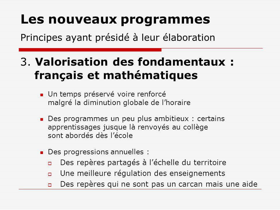 Les nouveaux programmes Principes ayant présidé à leur élaboration 3. Valorisation des fondamentaux : français et mathématiques Un temps préservé voir