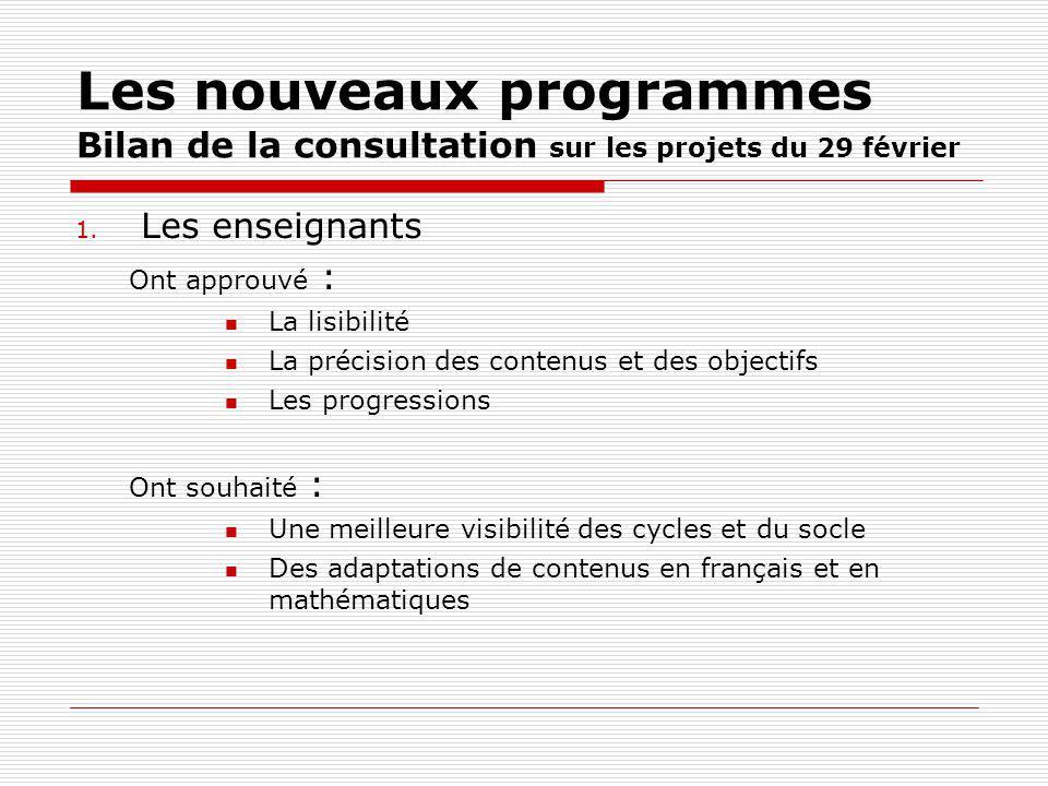 Les nouveaux programmes Bilan de la consultation sur les projets du 29 février 1. Les enseignants Ont approuvé : La lisibilité La précision des conten