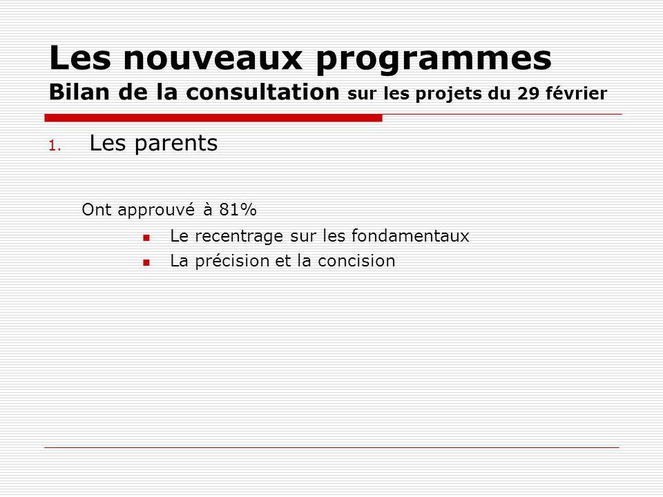 Les nouveaux programmes Bilan de la consultation sur les projets du 29 février 1. Les parents Ont approuvé à 81% Le recentrage sur les fondamentaux La