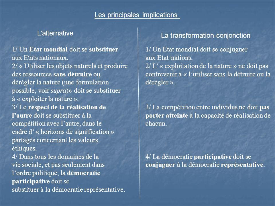 Lalternative La transformation-conjonction 1/ Un Etat mondial doit se substituer aux Etats nationaux.