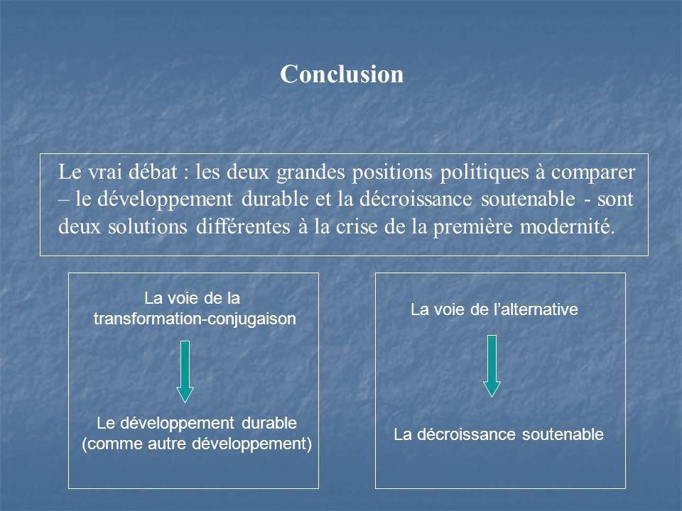 Le vrai débat : les deux grandes positions politiques à comparer – le développement durable et la décroissance soutenable - sont deux solutions différentes à la crise de la première modernité.