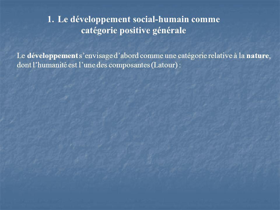 1.Le développement social-humain comme catégorie positive générale Le développement senvisage dabord comme une catégorie relative à la nature, dont lhumanité est lune des composantes (Latour) :