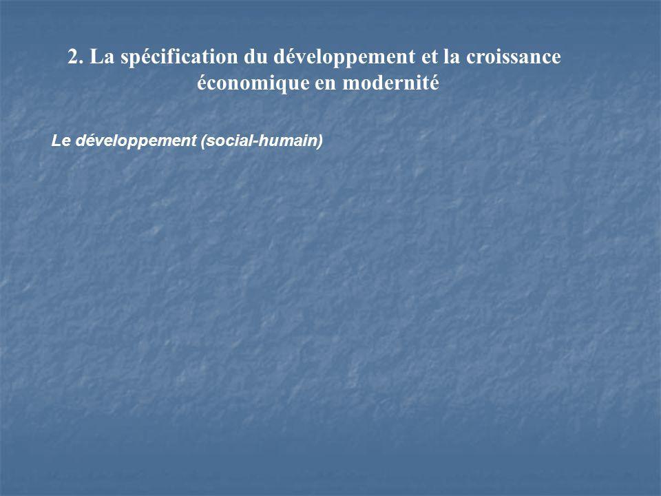 2. La spécification du développement et la croissance économique en modernité Le développement (social-humain)