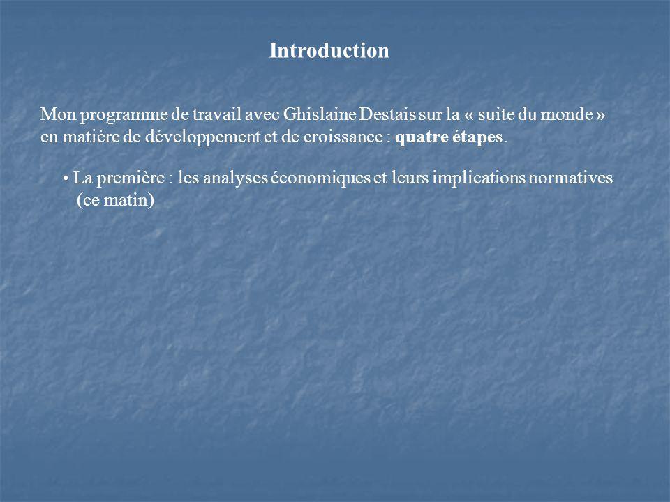 Introduction Mon programme de travail avec Ghislaine Destais sur la « suite du monde » en matière de développement et de croissance : quatre étapes.