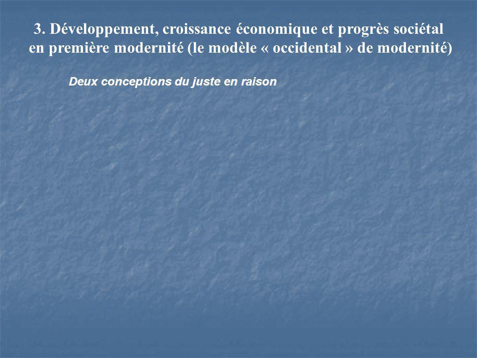3. Développement, croissance économique et progrès sociétal en première modernité (le modèle « occidental » de modernité) Deux conceptions du juste en