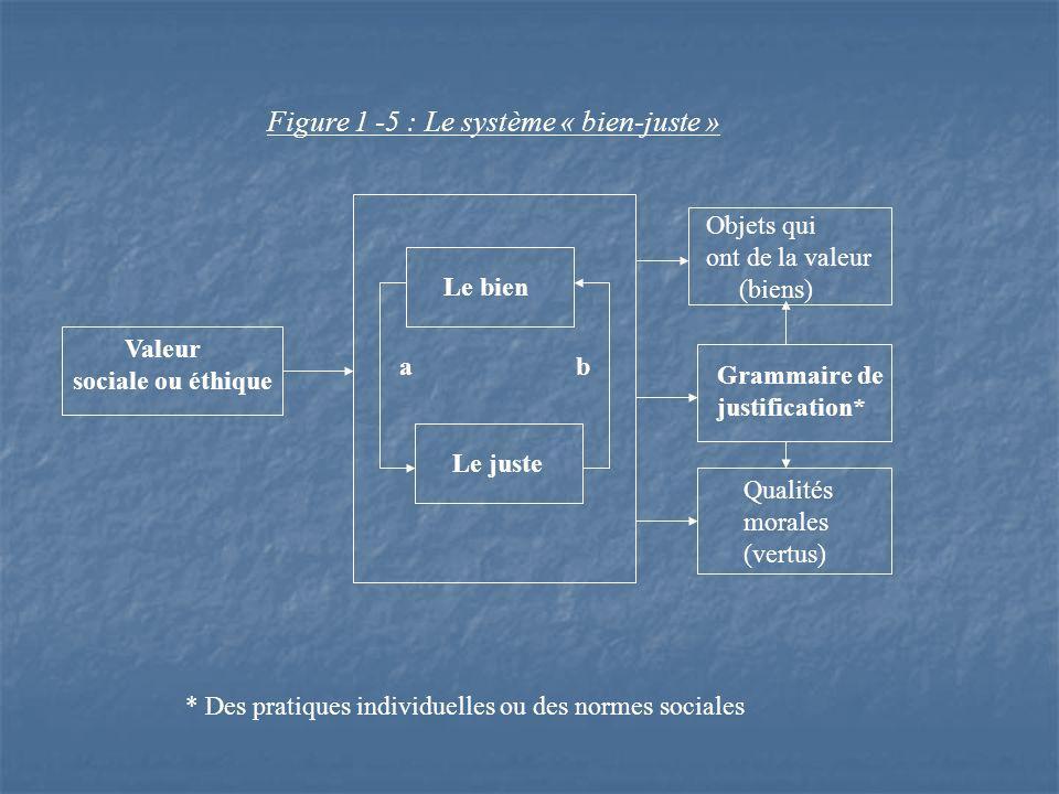 Figure 1 -5 : Le système « bien-juste » Valeur sociale ou éthique Le bien Le juste a b Objets qui ont de la valeur (biens) Qualités morales (vertus) Grammaire de justification* * Des pratiques individuelles ou des normes sociales