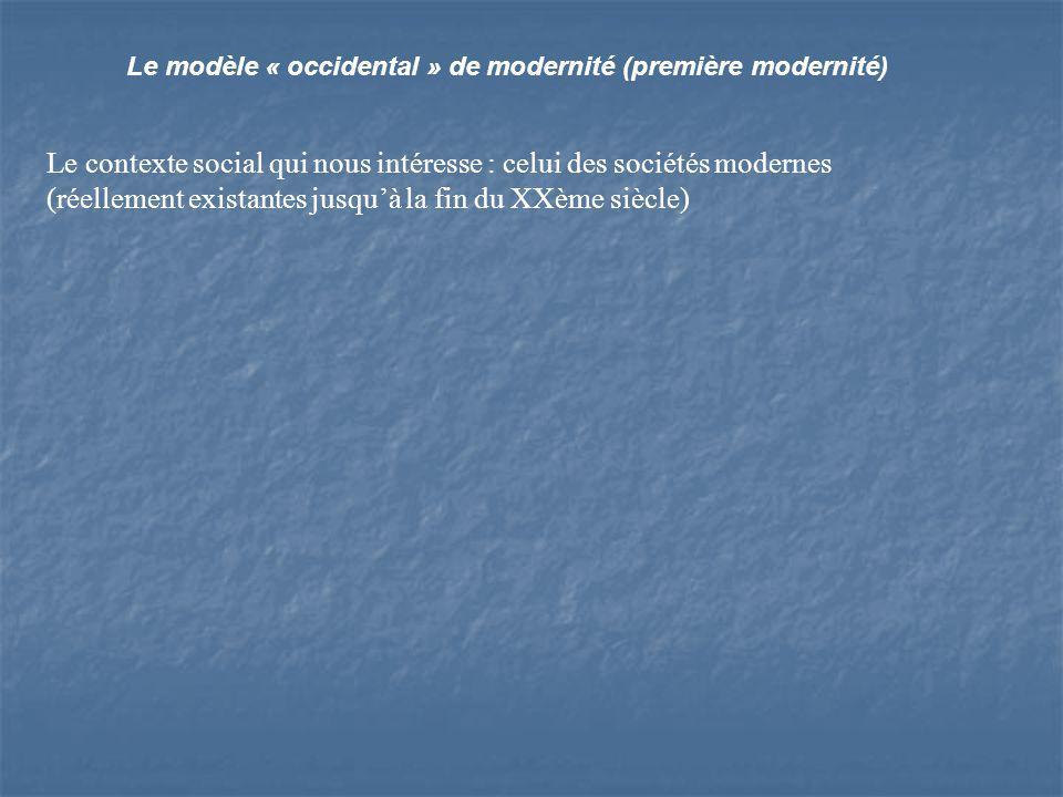 Le contexte social qui nous intéresse : celui des sociétés modernes (réellement existantes jusquà la fin du XXème siècle)