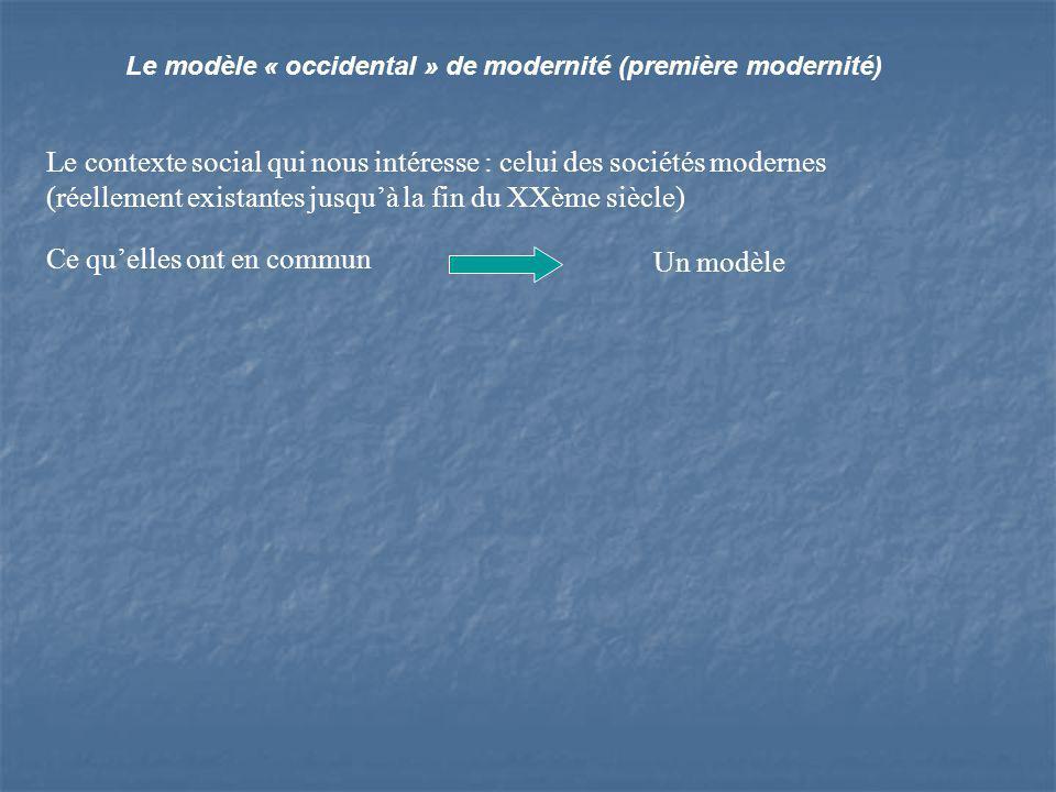 Le modèle « occidental » de modernité (première modernité) Le contexte social qui nous intéresse : celui des sociétés modernes (réellement existantes jusquà la fin du XXème siècle) Ce quelles ont en commun Un modèle