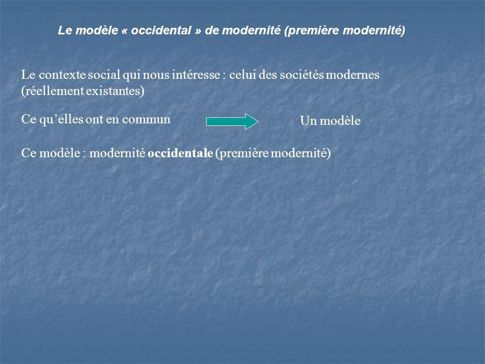 Le modèle « occidental » de modernité (première modernité) Le contexte social qui nous intéresse : celui des sociétés modernes (réellement existantes) Ce quelles ont en commun Un modèle Ce modèle : modernité occidentale (première modernité)