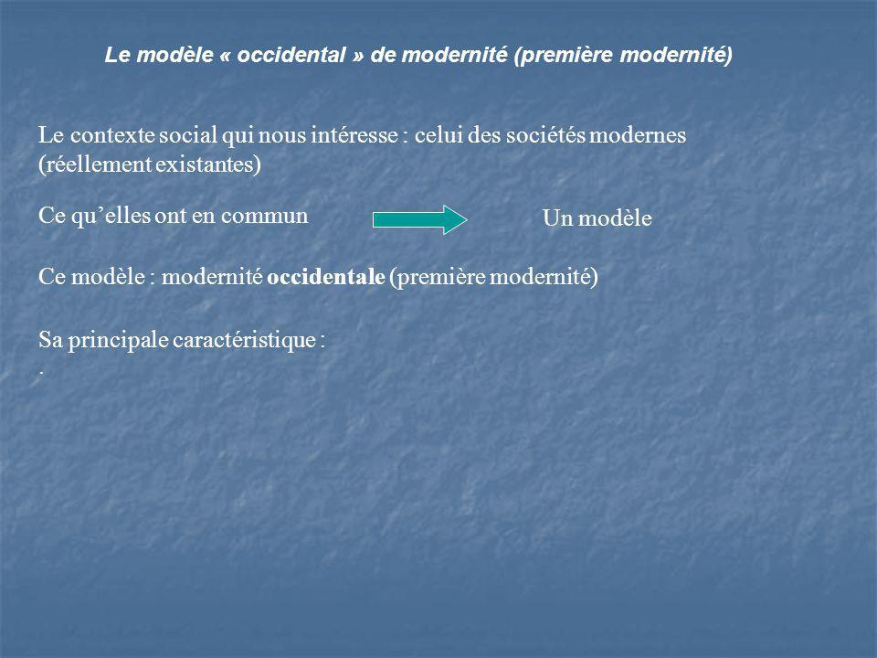 Le modèle « occidental » de modernité (première modernité) Le contexte social qui nous intéresse : celui des sociétés modernes (réellement existantes) Ce quelles ont en commun Un modèle Ce modèle : modernité occidentale (première modernité) Sa principale caractéristique :.