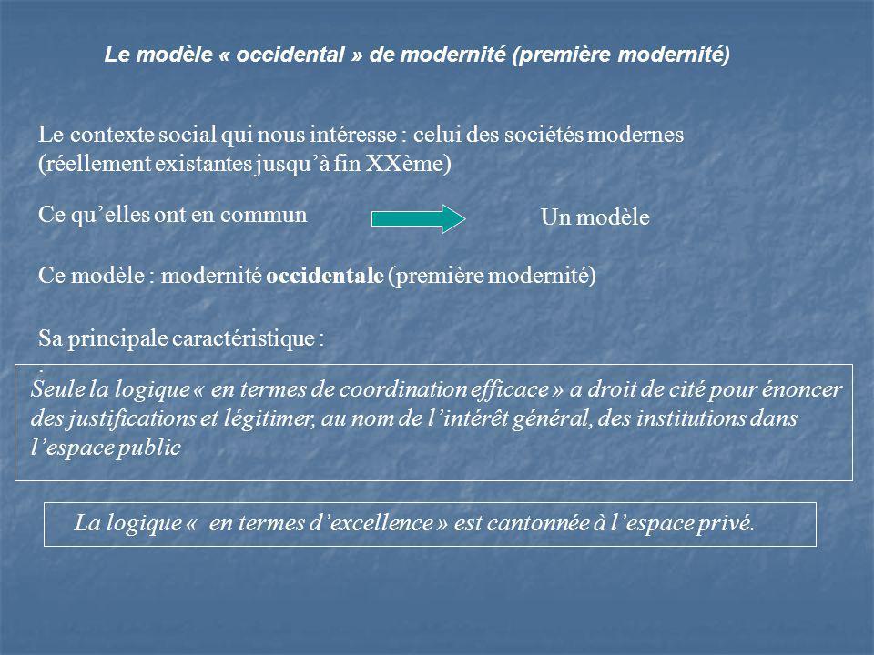 Le modèle « occidental » de modernité (première modernité) Le contexte social qui nous intéresse : celui des sociétés modernes (réellement existantes jusquà fin XXème) Ce quelles ont en commun Un modèle Ce modèle : modernité occidentale (première modernité) Sa principale caractéristique :.