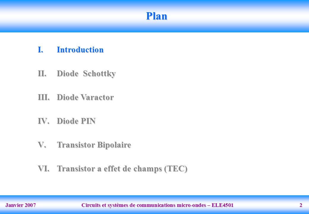 Janvier 2007 Circuits et systèmes de communications micro-ondes – ELE4501 33 Plan I.Introduction II.Diode Schottky III.Diode Varactor IV.Diode PIN V.Transistor Bipolaire VI.Transistor a effet de champs (TEC)