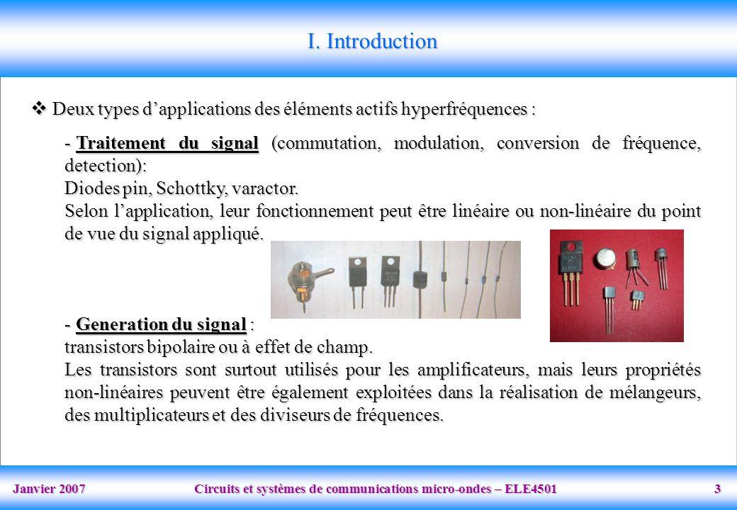 Janvier 2007 Circuits et systèmes de communications micro-ondes – ELE4501 3 I.