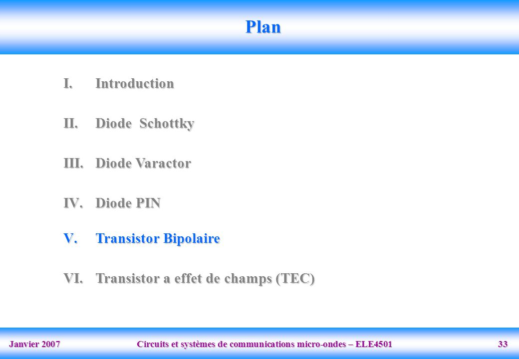 Janvier 2007 Circuits et systèmes de communications micro-ondes – ELE4501 33 Plan I.Introduction II.Diode Schottky III.Diode Varactor IV.Diode PIN V.T