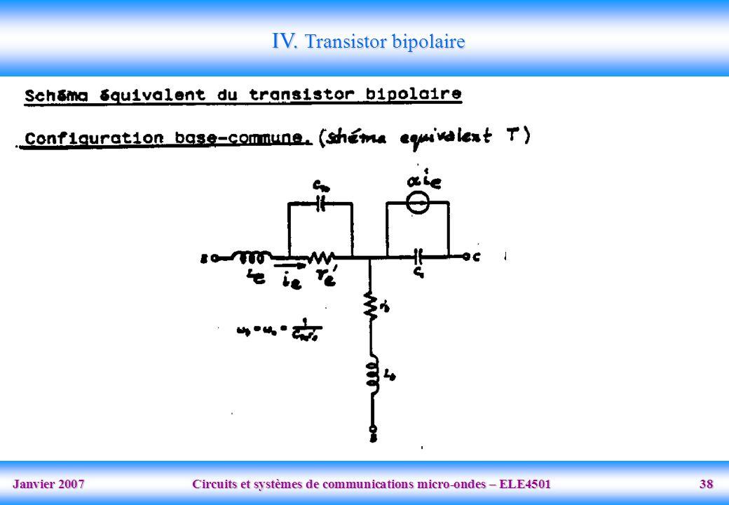 Janvier 2007 Circuits et systèmes de communications micro-ondes – ELE4501 38 IV.