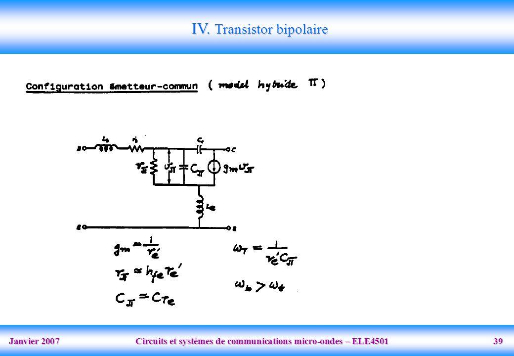 Janvier 2007 Circuits et systèmes de communications micro-ondes – ELE4501 39 IV.