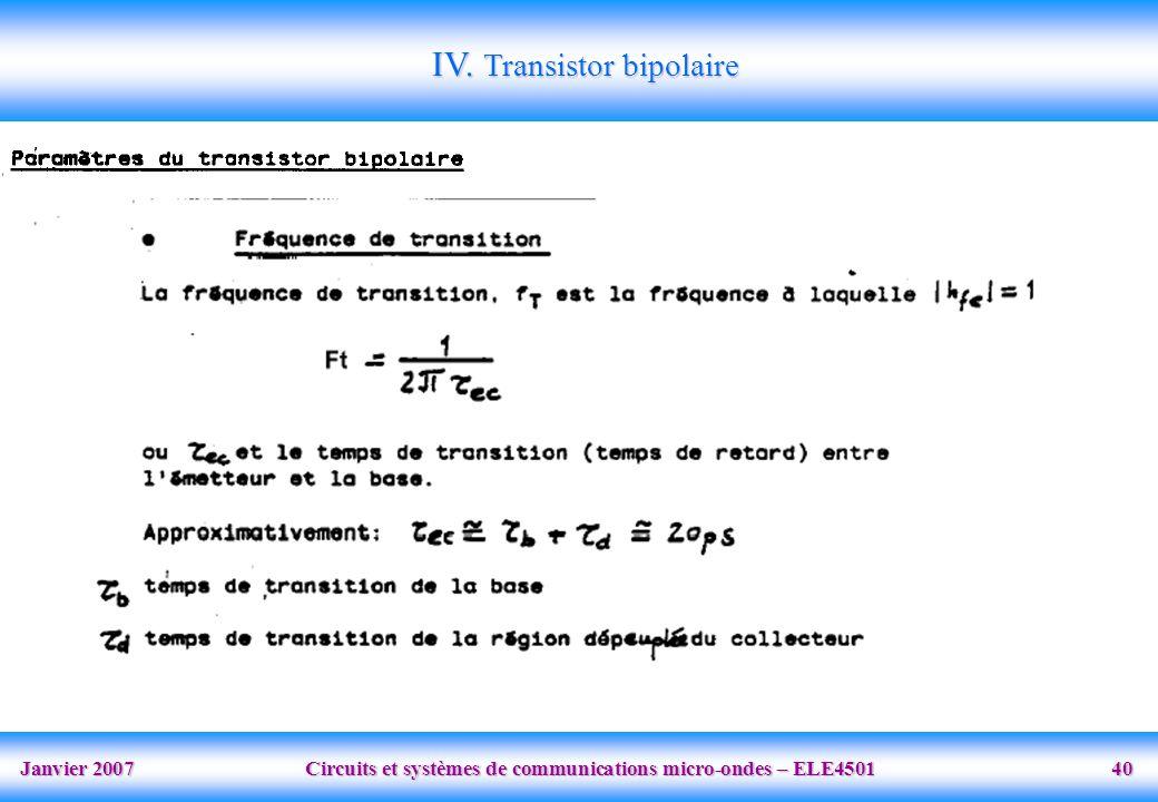 Janvier 2007 Circuits et systèmes de communications micro-ondes – ELE4501 40 IV.