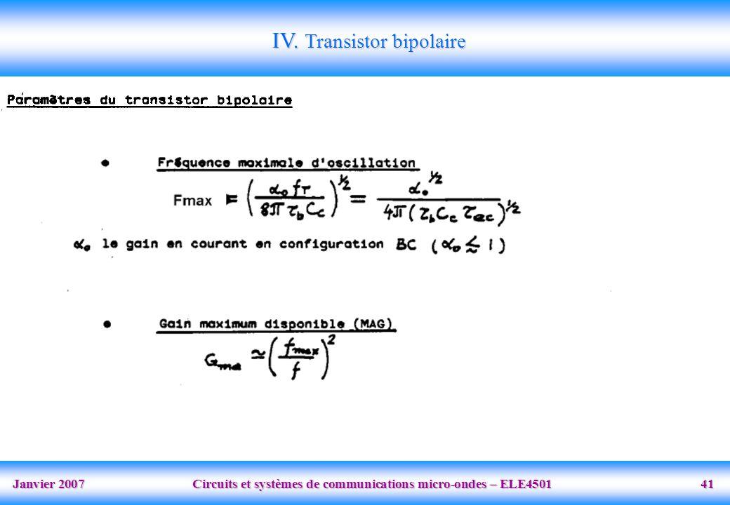 Janvier 2007 Circuits et systèmes de communications micro-ondes – ELE4501 41 IV.