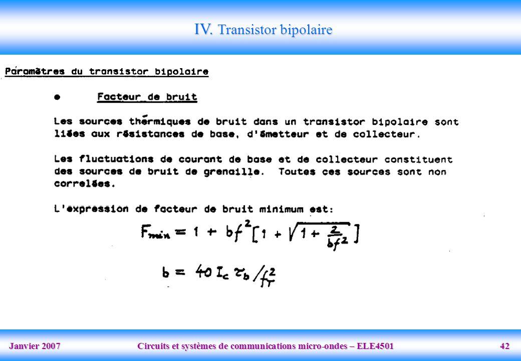 Janvier 2007 Circuits et systèmes de communications micro-ondes – ELE4501 42 IV.