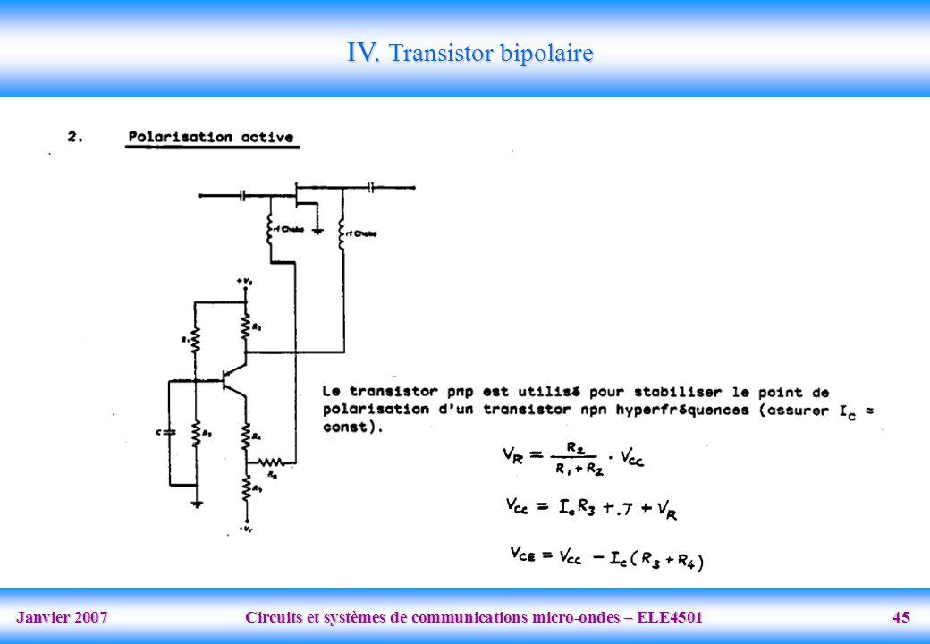 Janvier 2007 Circuits et systèmes de communications micro-ondes – ELE4501 45 IV.