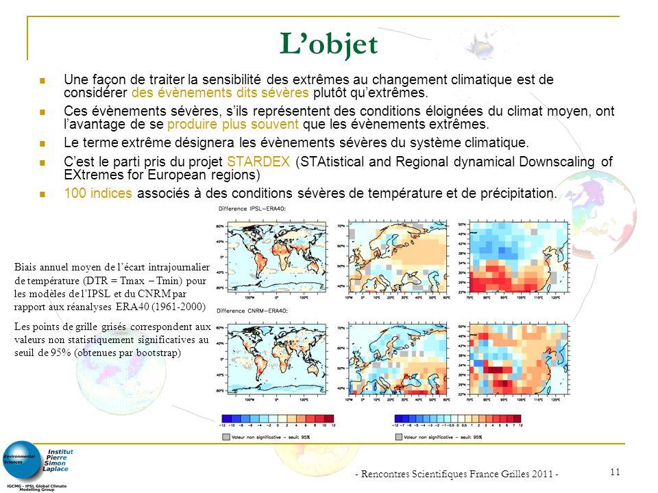 - Rencontres Scientifiques France Grilles 2011 - 11 Lobjet Une façon de traiter la sensibilité des extrêmes au changement climatique est de considérer