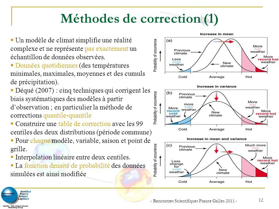 - Rencontres Scientifiques France Grilles 2011 - 12 Méthodes de correction (1) Un modèle de climat simplifie une réalité complexe et ne représente pas