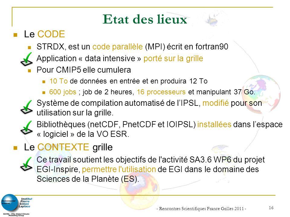 - Rencontres Scientifiques France Grilles 2011 - 16 Etat des lieux Le CODE STRDX, est un code parallèle (MPI) écrit en fortran90 Application « data in