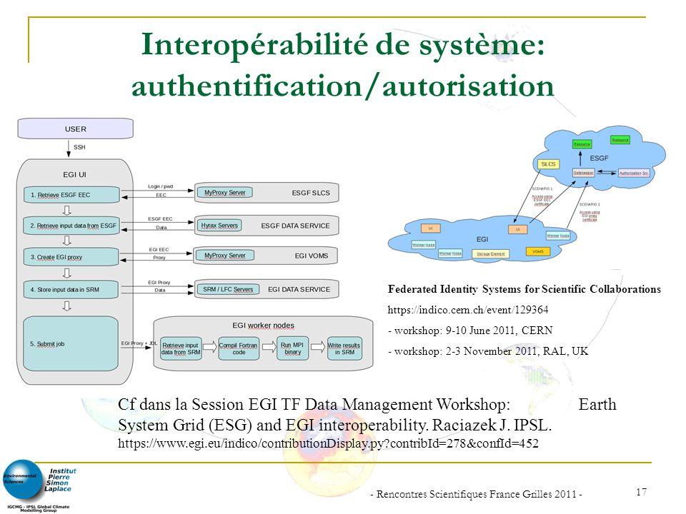 - Rencontres Scientifiques France Grilles 2011 - 17 Interopérabilité de système: authentification/autorisation Cf dans la Session EGI TF Data Manageme