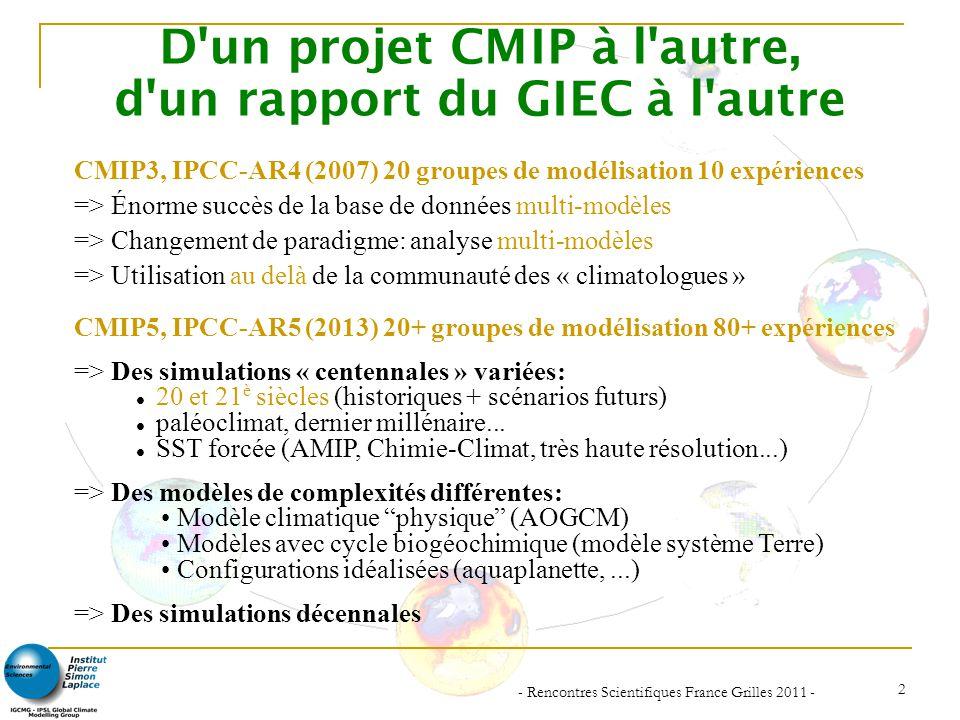 - Rencontres Scientifiques France Grilles 2011 - 3 Simulations proposées par CMIP-5 pour la préparation du 5 e rapport du GIEC Long terme (centennal)Court terme (décennal) Évaluation Obs.