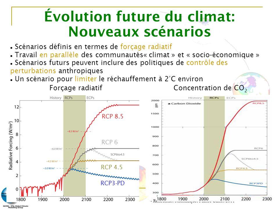 - Rencontres Scientifiques France Grilles 2011 - 7 Évolution future du climat: Nouveaux scénarios Scénarios définis en termes de forçage radiatif Trav