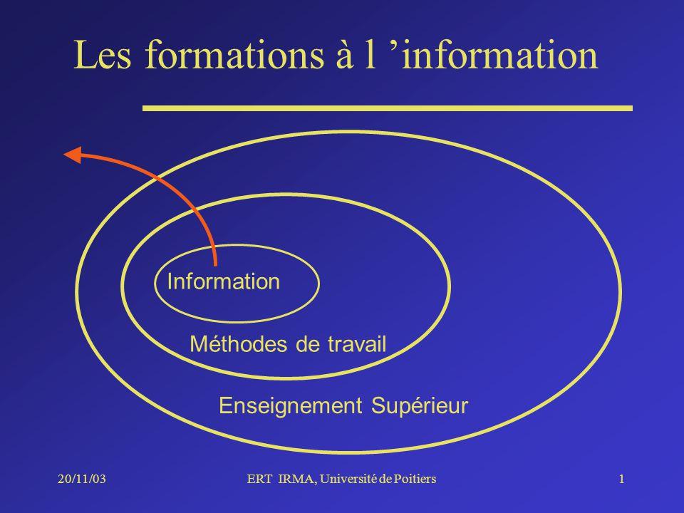 20/11/03ERT IRMA, Université de Poitiers1 Enseignement Supérieur Méthodes de travail Information Les formations à l information