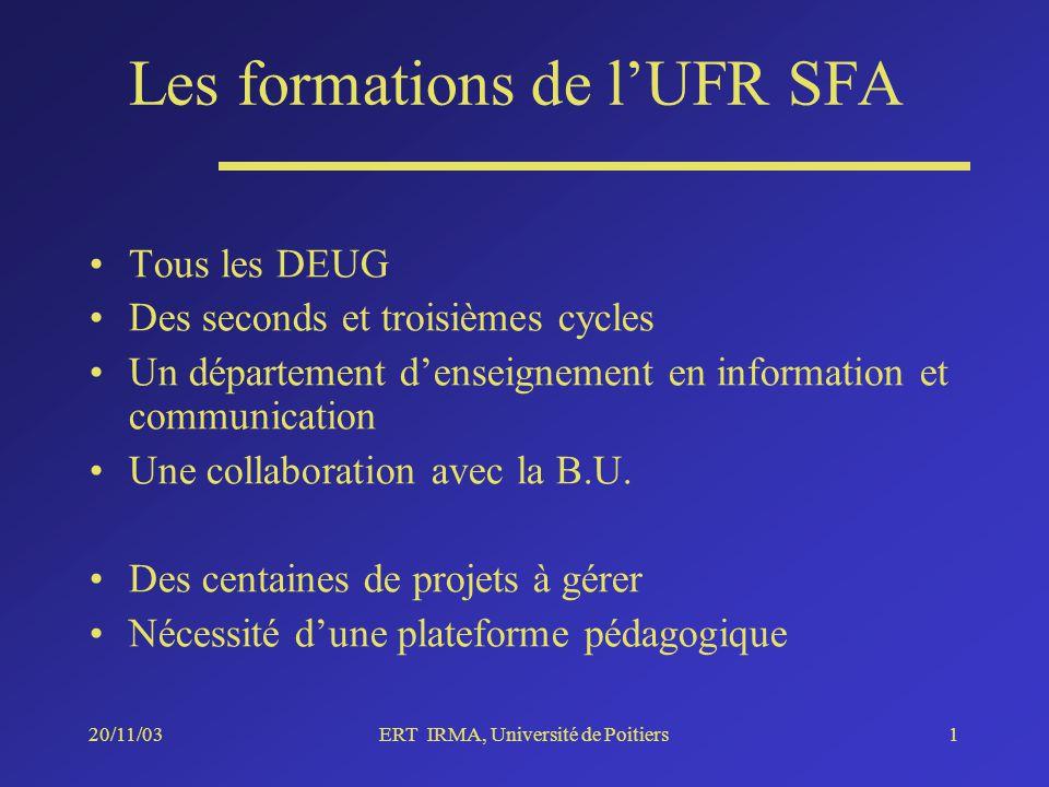 20/11/03ERT IRMA, Université de Poitiers1 Les formations de lUFR SFA Tous les DEUG Des seconds et troisièmes cycles Un département denseignement en information et communication Une collaboration avec la B.U.