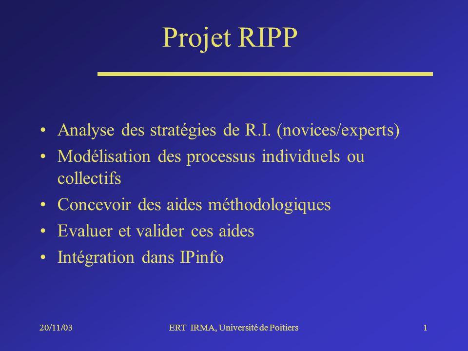 20/11/03ERT IRMA, Université de Poitiers1 Projet RIPP Analyse des stratégies de R.I.