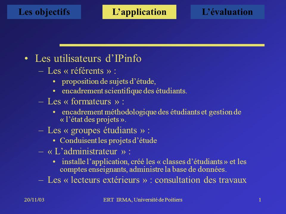 20/11/03ERT IRMA, Université de Poitiers1 Les utilisateurs dIPinfo –Les « référents » : proposition de sujets détude, encadrement scientifique des étudiants.
