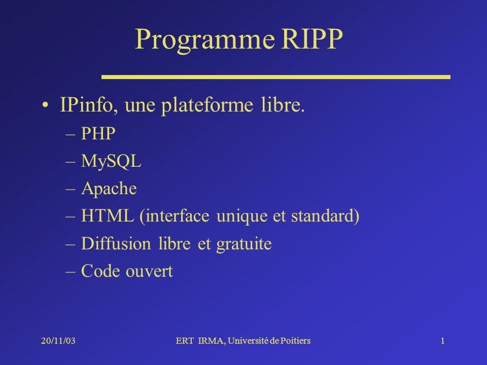 20/11/03ERT IRMA, Université de Poitiers1 Programme RIPP IPinfo, une plateforme libre.