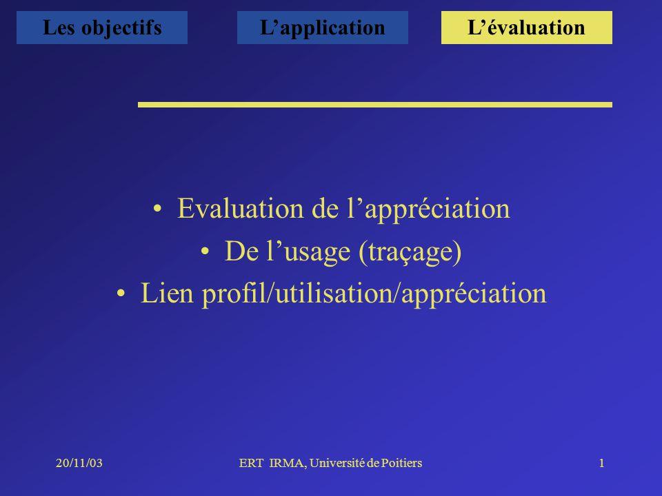 20/11/03ERT IRMA, Université de Poitiers1 Evaluation de lappréciation De lusage (traçage) Lien profil/utilisation/appréciation Les objectifsLapplicationLévaluation