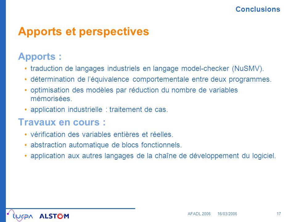 Conclusions AFADL 200616/03/200617 Apports et perspectives Apports : traduction de langages industriels en langage model-checker (NuSMV). déterminatio