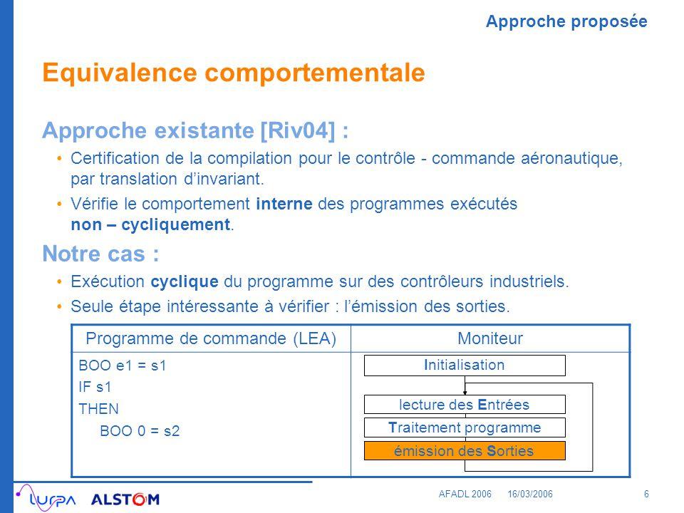 Approche proposée AFADL 200616/03/20067 Modèle global Principes MODEL CHECKER (NuSMV [CCG+02]) Comportement équivalent ou non Diagnostic en cas dincohérence Critère déquivalence comportementale Programme CProgramme LEA BOO e1 = s1 IF s1 THEN BOO 0 = s2 s1 = e1; IF {s1} { s2 = 0; } Langage industriel Langage du model-checker Équivalence .