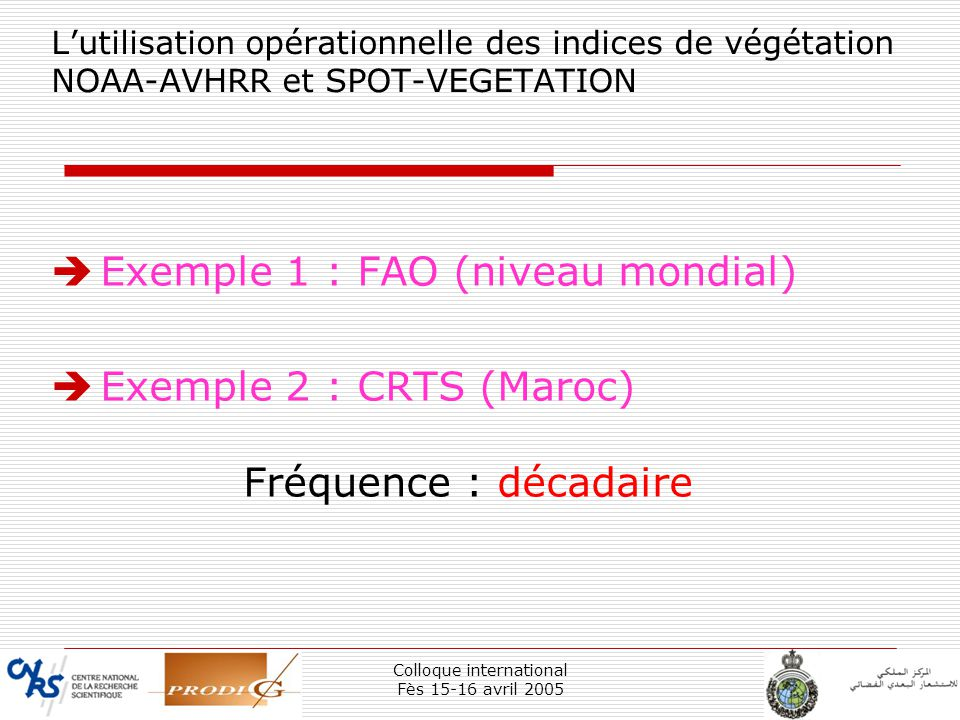 Colloque international Fès 15-16 avril 2005 10 Lutilisation opérationnelle des indices de végétation NOAA-AVHRR et SPOT-VEGETATION Exemple 1 : FAO (ni