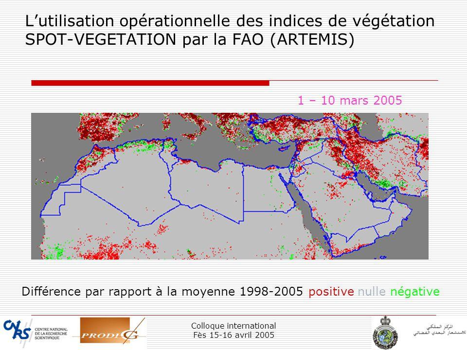 Colloque international Fès 15-16 avril 2005 12 Lutilisation opérationnelle des indices de végétation SPOT-VEGETATION par la FAO (ARTEMIS) 1 – 10 mars